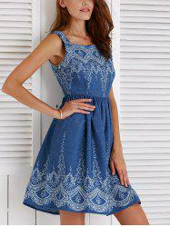 Sleeveless Floral Pattern Denim Dress
