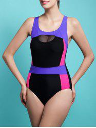 Color Block Skinny Racerback Tulle Spliced Swimwear