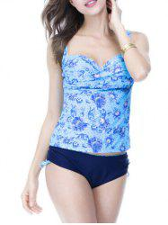 Sweetheart Neck Print Underwire Padded Slimming Tankini -