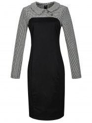 Long Sleeve Houndstooth Print Bodycon Dress