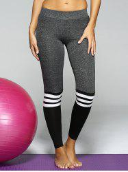 Elastic Striped Sport Leggings - GRAY