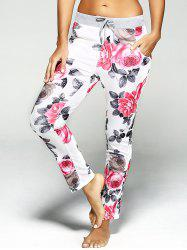 Drawstring Flower Print Sport Pants