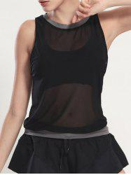 See Through Blouson Gym Running Tank Top