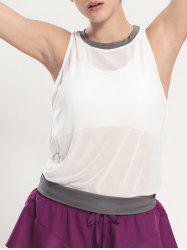 See Through Blouson Gym Running Tank Top - WHITE