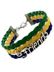 Faux Leather Woven Flag Friend Bracelet - GREEN