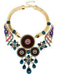 Faux Sapphire Water Drop Collier Blossom -