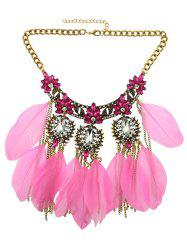 Rhinestone Faux Crystal Feather Leaf Necklace - LIGHT PINK