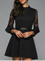 A Line Sheer Dress With Belt -
