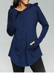 Kangaroo Pocket Tunic Hoodie - PURPLISH BLUE