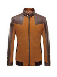 Stand Collar Leather Spliced Jacket ODM Designer - BROWN