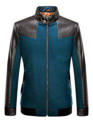 Stand Collar Leather Spliced Jacket ODM Designer - TURQUOISE