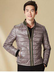 Stand Collar Panel Padded Jacket ODM Designer - GRAY 3XL
