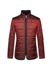 Geometric Quilted Wadded Jacket ODM Designer - DEEP RED 3XL