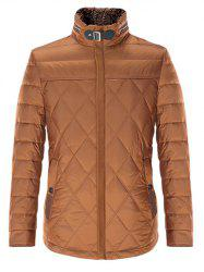 Stand Collar Geometric Padded Jacket ODM Designer - BROWN 2XL