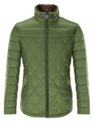 Stand Collar Geometric Padded Jacket ODM Designer - GREEN S