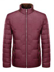 Zipper Up Geometric Padded Jacket ODM Designer - RED
