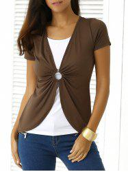 Color Block Out Cut T-Shirt - Tan