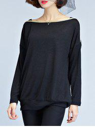 Slash Neck Long Sleeve T Shirt