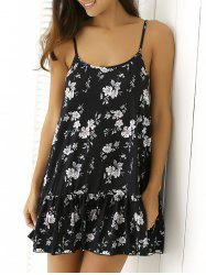 Floral Print Flounced Summer Dress - BLACK
