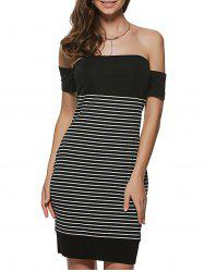 Striped Off The Shoulder Night Out Dresses - BLACK