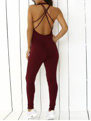 Stretchy Criss Cross Backless Jumpsuit - WINE RED