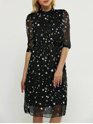 Star Pattern Belted Dress