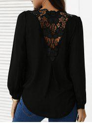 Spliced Chiffon Crochet Surplice Blouse