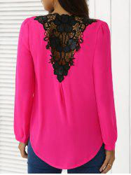 Épissage en mousseline de soie Crochet Surplice Blouse - rose XL