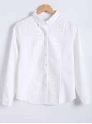 Slimming Openwork Spliced Shirt