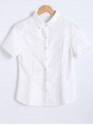 Slimming Short Sleeves Openwork Tuxedo Shirt
