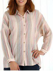 Oversized Colored Striped Long Sleeves Shirt
