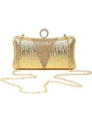 Clip Chains Ring Rhinestone Evening Bag - GOLDEN
