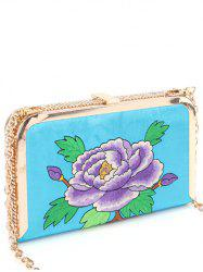 Rhinestone Flower Embroidered Evening Bag - LAKE BLUE