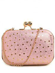 Kiss Lock Dot Chains Evening Bag - PINK