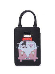 Cartoon Rivet Figure Print Tote Bag - BLACK