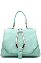 Magnetic Metal Flap Stitching Tote Bag - GREEN
