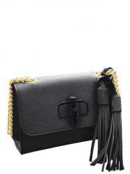 Tassels Chain PU Leather Crossbody Bag -
