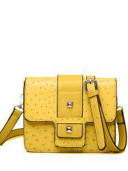 Embossing Magnetic Closure Double Rivet Crossbody Bag