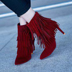 Zipper Stiletto Heel Fringe Short Boots - WINE RED 37