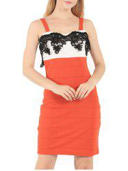 Straps Lace Panel Sheath Mini Club Dress