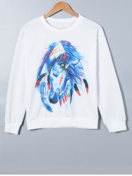 Cartoon Horse Print Sweatshirt -