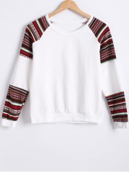 Raglan Sleeves Color Block Sweatshirt - WHITE
