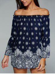 Ethnic Style Off The Shoulder Tribal Print Blouse -