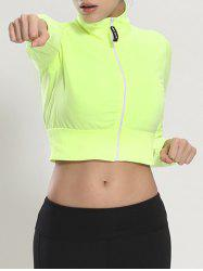 Zip Up Long Sleeve Cropped Running Jacket - FLUORESCENT YELLOW