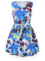 Sleeveless Floral Print Belted A-Line Dress -