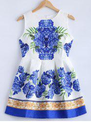 Textured Floral Print Pleated Dress -