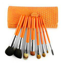 8 Pcs Face Eye Goat Hair Makeup Brushes Set with Woven Bag -