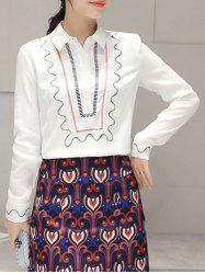 Embroidery Long Sleeve Ethnic Print Blouse -