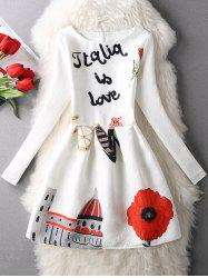 Letter Flower Long Sleeve Dress