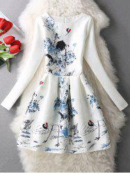 Landscape Painting Long Sleeve Dress -